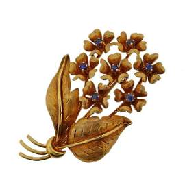 Tiffany & Co 18K Gold Sapphire Flower Brooch Pin
