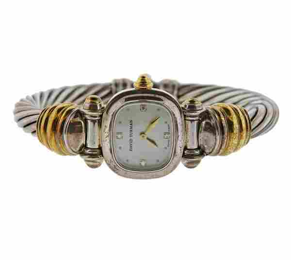 David Yurman Cable Diamond MOP 14k Gold Silver Watch