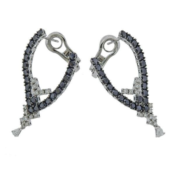 Staurino Fratelli 18k Gold Black White Diamond Earrings