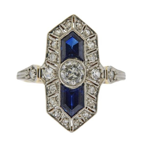 Antique Art Deco 18k Gold Platinum Diamond Sapphire