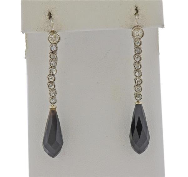18K Gold Diamond Black Stone Earrings
