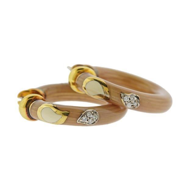 La Nouvelle Bague 18k Gold Sterling Diamond Enamel Hoop