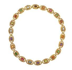 H. Stern 18K Gold Diamond Gemstone Necklace