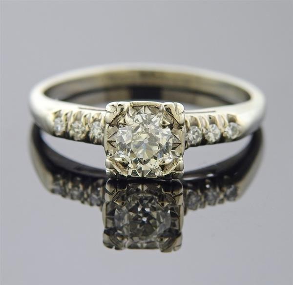 Gold Old Mine Cut Diamond Engagement Ring