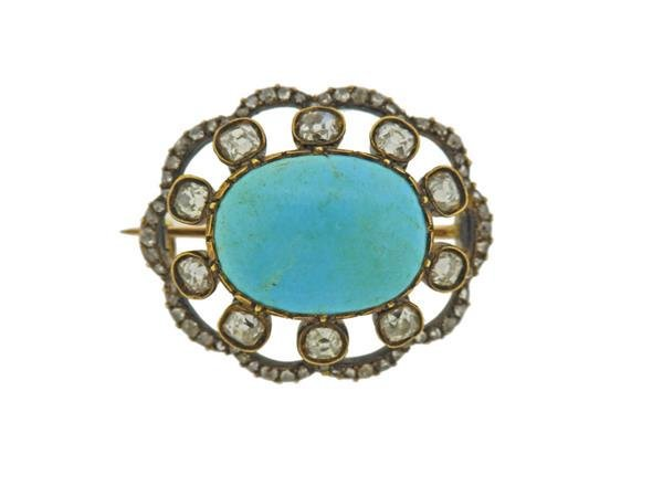Antique 14k Gold Silver Diamond Turquoise Brooch