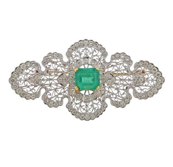 18K Gold Diamond 4.02ct Emerald Brooch Pin