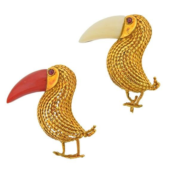 18K Gold Coral Ruby Toucan Brooch Pin Set