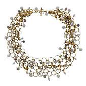 Antonio Bernardo Pearl Gold Link Necklace