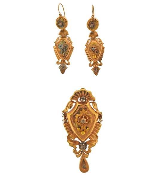 Antique Victorian 18k Gold Diamond Earrings Brooch Set