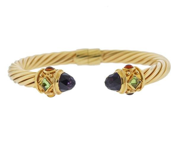 14k Gold Cable Citrine Amethyst Cuff Bracelet