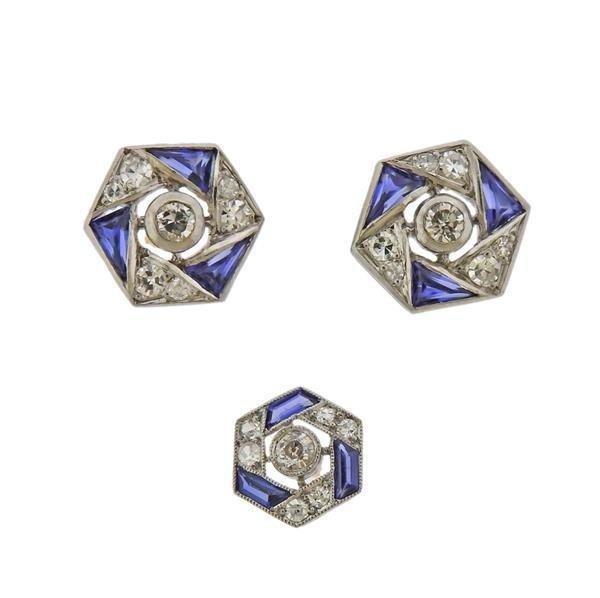 Art Deco Platinum Diamond Cufflink Stud Top Set