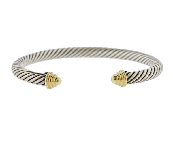 David Yurman 14k Gold Silver Cable Bracelet