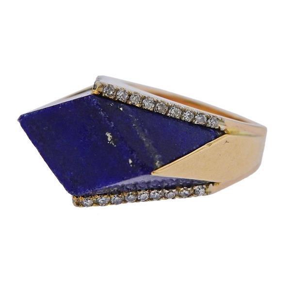 1970s Lapis Lazuli Diamond Gold Ring