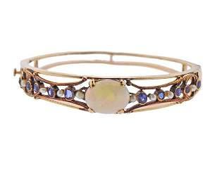 Antique 14K Gold Opal Blue Stone Pearl Bangle Bracelet