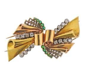 Retro 18k Gold Platinum Diamond Emerald Brooch Clip Set