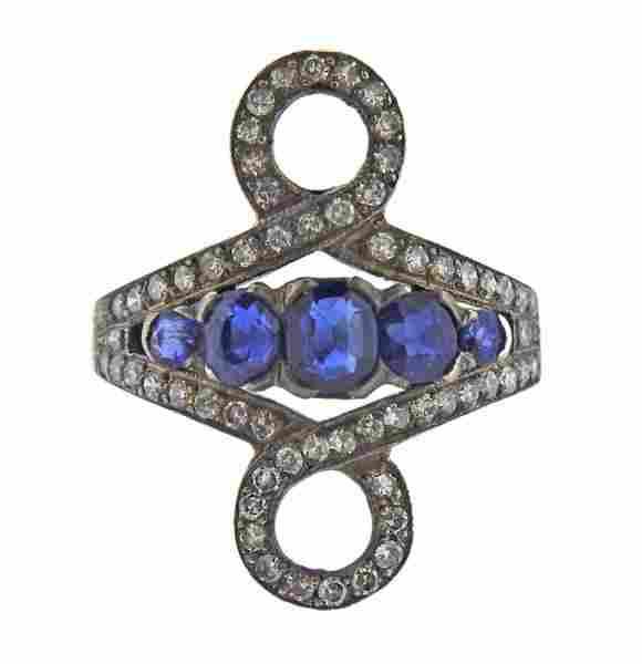 Antique 14K Gold Diamond Sapphire Ring