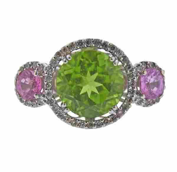 18K Gold Diamond Multi Color Gemstone Ring