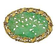 Antique 14K Gold Carved Jade Brooch Pin