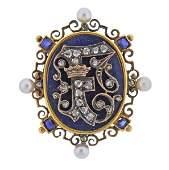 Antique 18k Gold Silver Pearl Diamond Pendant Brooch