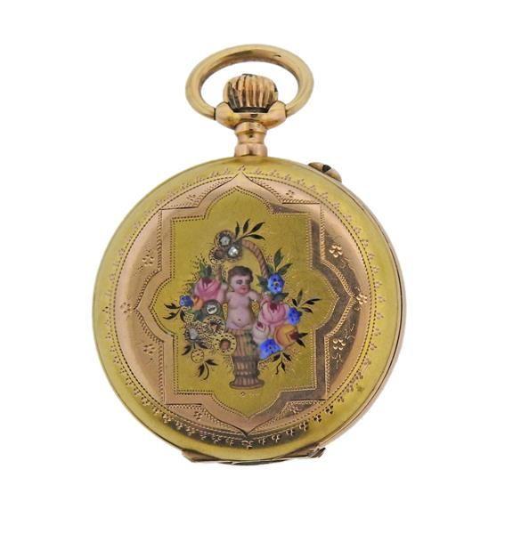 Antique 18k Gold Diamond Enamel Pocket Watch