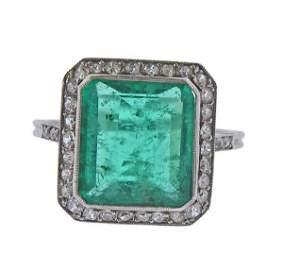 Art Deco GIA Emerald Diamond Platinum Ring