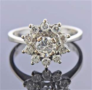Mid Century 18K Gold Diamond Cluster Ring