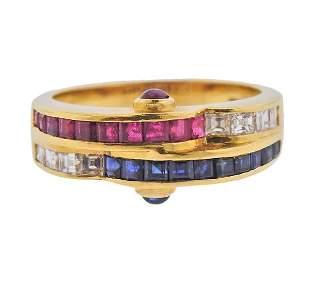 18K Gold Diamond Ruby Sapphire Band Ring