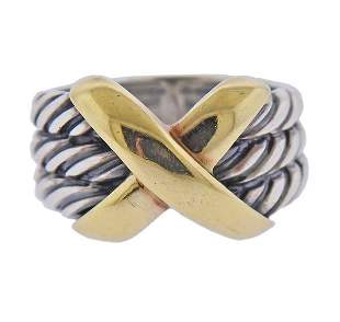 David Yurman Silver 14k Gold X Cable Ring