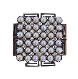 Antique Victorian 14K Gold Rose Cut Diamond Pearl