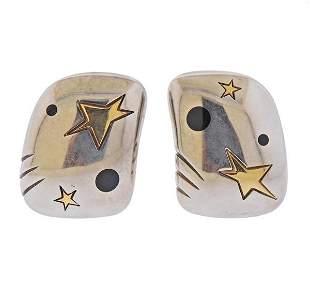 Michael Bondanza Silver 18K Gold Enamel Earrings