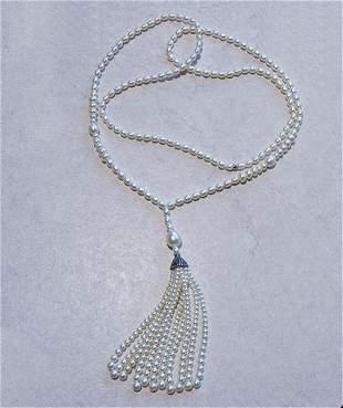 Tiffany & Co  Ziegfeld Silver Pearl Tassel Necklace