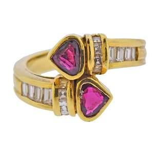 18K Gold Diamond Bypass Ruby Ring