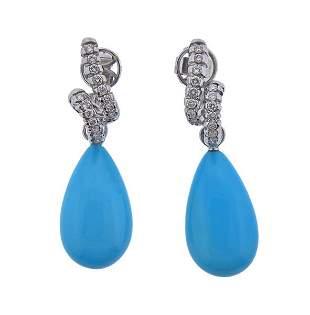 18K Gold Diamond Blue Stone Day & Night Earrings
