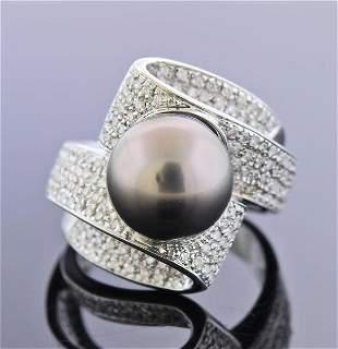 18k Gold Tahitian Pearl Diamond Cocktail Ring