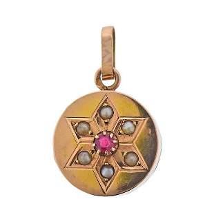 Antique Victorian 18K Gold Ruby Pearl Locket Pendant