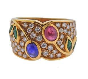 18K Gold Diamond Multi Color Gemstone Band Ring