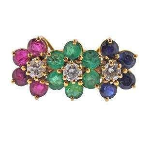 18k Gold Diamond Emerald Ruby Sapphire Flower Ring