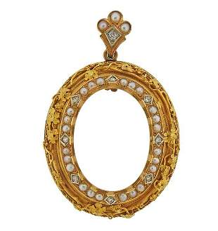 Antique Victorian 18k Gold Diamond Pearl Pendant Brooch