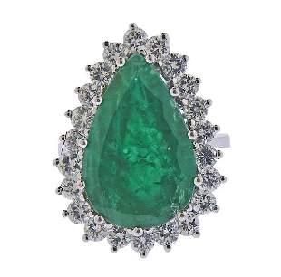 18k Gold Diamond 9.76ct Emerald Cocktail Ring