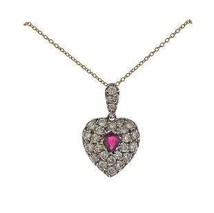 Antique Victorian 15K Gold Diamond Heart Pendant on 18k