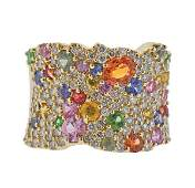 14K Gold Diamond Multi Gemstone Cocktail Ring