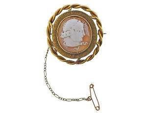 Antique 1840s 14K Gold Cameo Brooch Pin