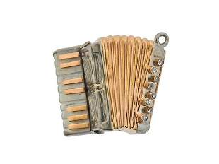 18K Gold Diamond Mother of Pearl Accordion Charm