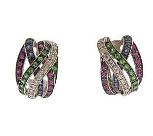 18k Gold Diamond Emerald Sapphire Ruby Earrings
