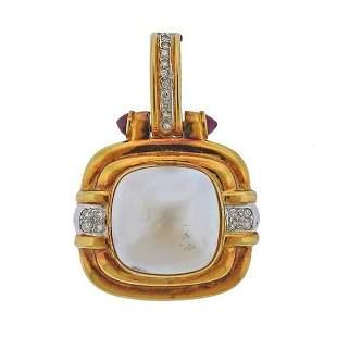 14k Gold Mabe Pearl Diamond Ruby Pendant Enhancer