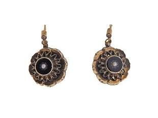 Antique Victorian 14K Gold Pearl Enamel Earrings