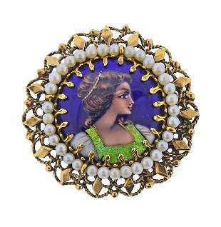 14K  Gold Enamel Pearl Portrait Brooch Pendant
