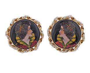 14K Gold Enamel Pearl Portrait Earrings