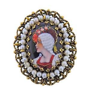 Antique 14K Gold Enamel Pearl Portrait Brooch Pendant