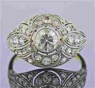 Antique Art Deco 18K Gold Platinum Diamond Rings